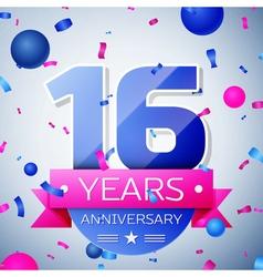 Sixteen years anniversary celebration on grey vector