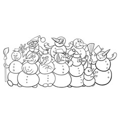 snowmen group cartoon coloring book vector image