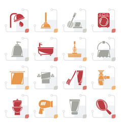 stylized bathroom and hygiene objects icons vector image
