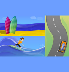 surfing banner set cartoon style vector image