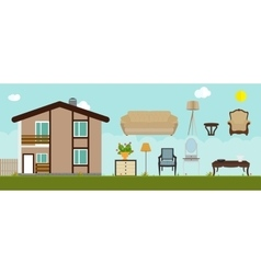 The house is furnished with furniture Modern Flat vector image