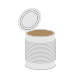tin empty open isolated can blank on white vector image