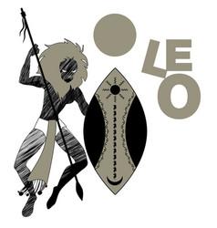 Tribal zodiac leo lion-headed man holding a spear vector