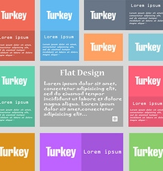 Turkey icon sign Set of multicolored buttons with vector