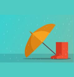 umbrella and boots in rainy season art vector image