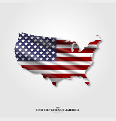 Usa map flag with shadow on light background vector