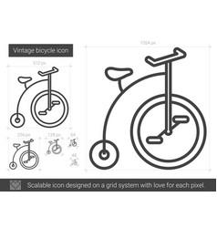 Vintage bicycle line icon vector