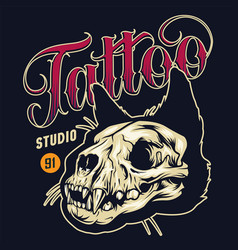 Vintage tattoo studio colorful badge vector
