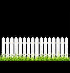 White wooden fence with grass vector