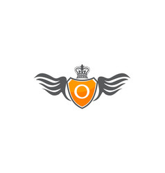 Wing shield crown initial o vector