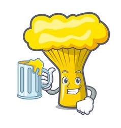 With juice chanterelle mushroom mascot cartoon vector