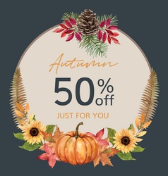Wreath design with autumn theme watercolour vector