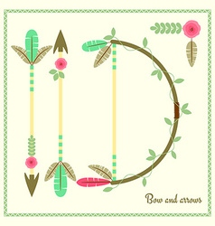 Bow and arrows flat poster vector image