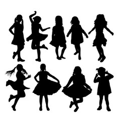 happy kids activity silhouettes vector image vector image
