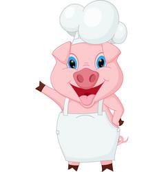 pig chef cartoon waving hand vector image