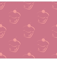 Seamless violet pattern or tile cupcake background vector image vector image