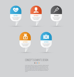 antibiotic icons set collection of healer drug vector image vector image