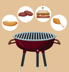 color background with grill barbecue with icons vector image vector image