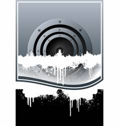 music skyline grunge lined background vector image vector image