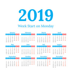 2019 calendar start on monday vector image