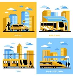 City Transportation 2x2 Design Concept vector image vector image