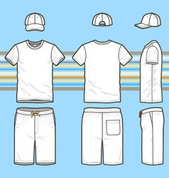 Mens t-shirt cap and swim shorts set vector image