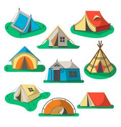 tourist tent icon set vector image