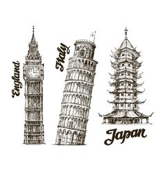 Travel Hand drawn sketch England Italy Japan vector image