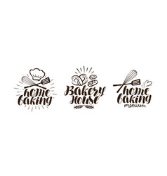 Bakery bakehouse logo or label home baking vector