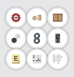 flat icon games set of poker lottery guess and vector image vector image