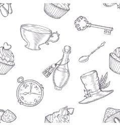 Hand drawn wonderland seamless pattern vector image vector image