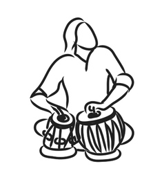 Indian musician playing tabla vector image vector image