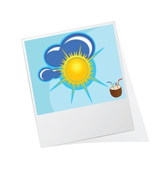photo frame with sun icon vector image