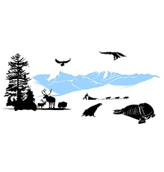 reservation with winter animals on the snow mounta vector image vector image