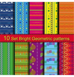 10 Set Bright Geometric patterns vector image