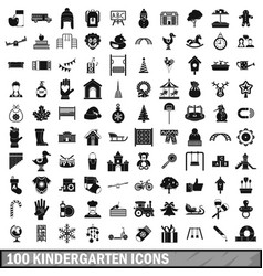 100 kindergarten icons set simple style vector