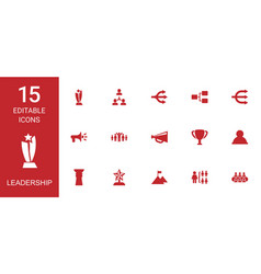 15 leadership icons vector image