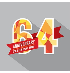 64th Years Anniversary Celebration Design vector