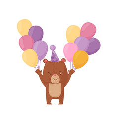 adorable brown bear with two bunches of colorful vector image