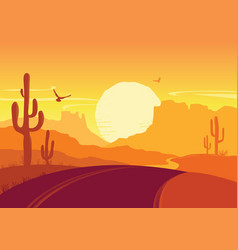 american road in desert arizona prairie landscape vector image