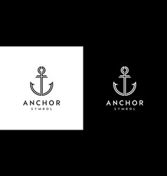 anchor nautical marine seal logo design vector image