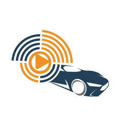 Audio car system player logo template isolated vector