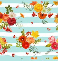 Autumn nature seamless pattern floral background vector