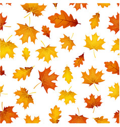 Autumn pattern with orange leaves vector