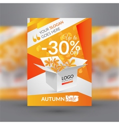 Autumn sale flyer template vector image