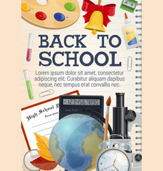 Back to school stationery on copybook poster vector