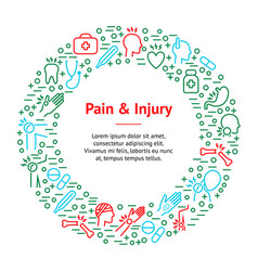 Body pain and injury banner card circle vector
