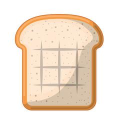 bread slice colorful silhouette in white vector image