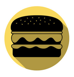 burger simple sign flat black icon with vector image