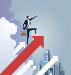 businessman standing on arrow sign leadership vector image